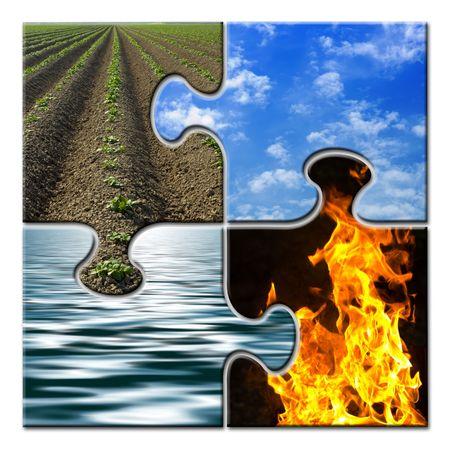cuatro elementos: Cuatro elementos de un rompecabezas  Foto de archivo