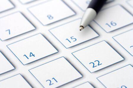 Blue Pen on blue calendar