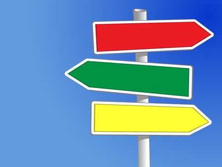 signpost: Signpost with three arrows (XXL) to add your own text Stock Photo