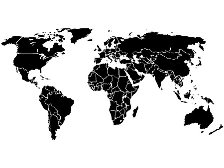 Simplified World map, black on White background. Each country is a separate shape. (Vector)