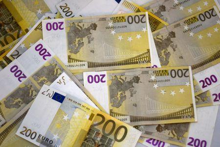 Background of 200 euro notes Stock Photo