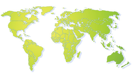 withe: Bright green shiny stylized World map, with drop shadow on withe background(Vector). Each country is a separate shape. Background is in a separate layer. Colors are controlled by Swatches