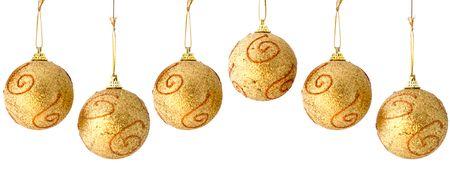 Very High Resolution Golden Christmas Balls Seamless Repeatable Border