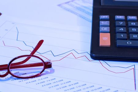 scrutiny: Business is dropping - blue filter Stock Photo