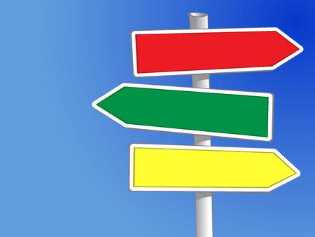 directions: Signpost met drie pijlen Vector het toevoegen van uw eigen tekst
