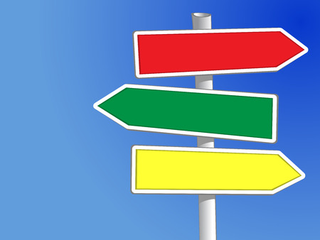 directions: Signpost with three arrows Vector to add your own text