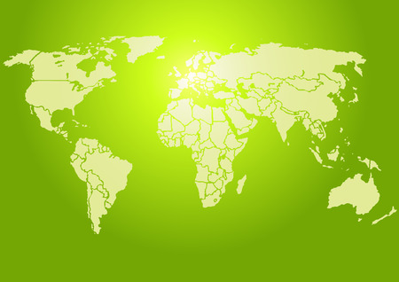 brightly lit: Simplified World map, brightly lit green. Each country is a separate shape. (Vector)