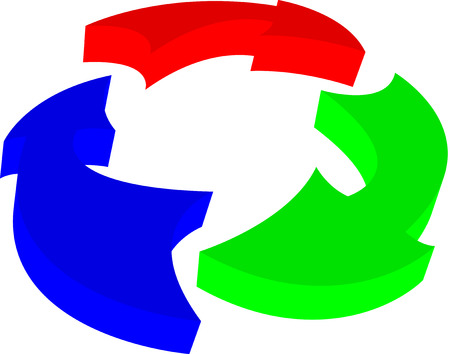 Red Green and Blue 3D arrows in a circle Vector