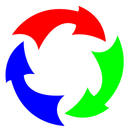 Red Green and Blue arrows in a circle Vector