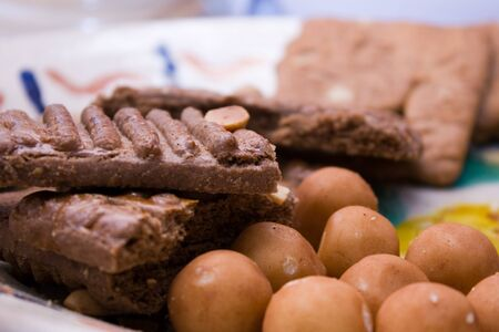 speculaas: Marzipan and Speculaas on Plate Stock Photo