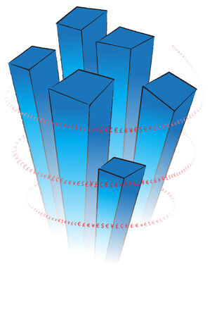 Dynamic blue 3D chart with red valuta signs swirling around