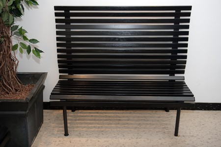 lath in modern: black wooden bench Stock Photo