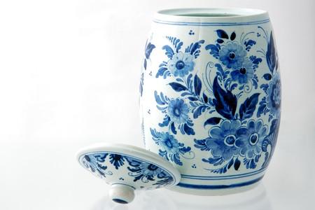 Delft blue pot on white background Stock Photo