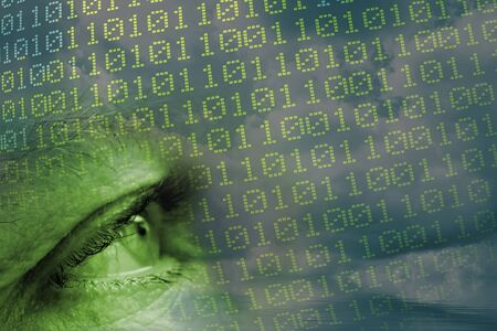 digital composite: Mans Eye and Binary code Stock Photo