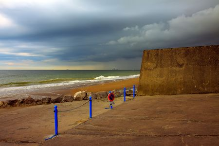 mood moody: Dramatic sky over sea and beach
