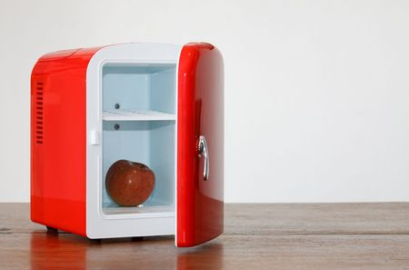 frig: Shiny bright red miniature fridge