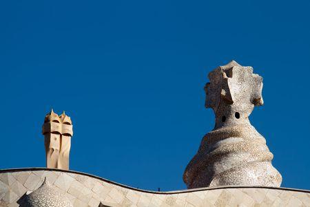 Barcelona Casa Mila: Items on roof of Gaudi House  photo