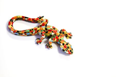 Miniature Gaudi lizard made of ceramic mosaic tiles photo