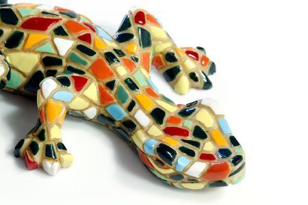 Miniature Gaudi lizard made of ceramic mosaic tiles