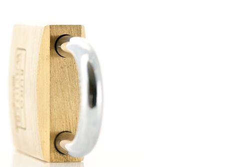 Closed padlock on white reflecting background Stock Photo - 6994006