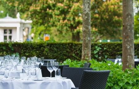 dinner tables on terrace of star restaurant photo