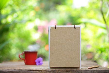 red mug and Empty calendar Stock Photo