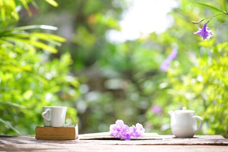 white tea cup with white teapot and books at outdoor Stock Photo