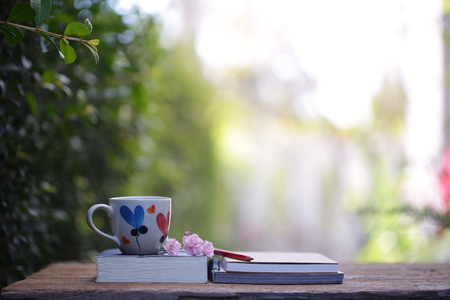 White mug with heart pattern and book with pink fairy rose