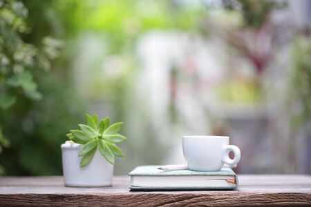 White coffee cup with small plant pot and notebook on wooden table