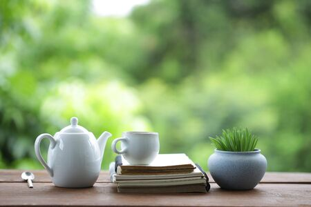 White teapot with ceramic cup with plant pot and notebook on wooden table