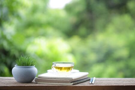 Greentea in transpalent glass and diary notebook with tree plant pot on wooden table