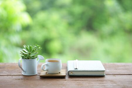 tea cup and tea pot with small plant pot and diary notebook on wooden table Stockfoto - 131290787