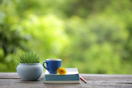 blue tea cup and small plant pot with diary notebook on wooden table Stockfoto - 132618592