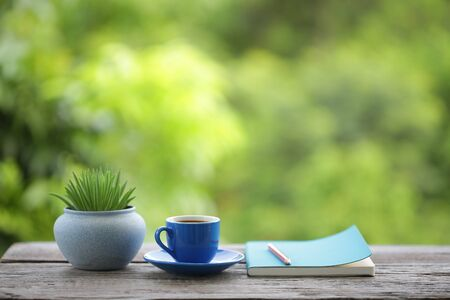 blue tea cup and small plant pot with diary notebook on wooden table