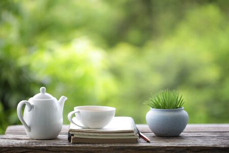 tea cup with small plant pot and diary notebook on wooden table Stockfoto - 132623648