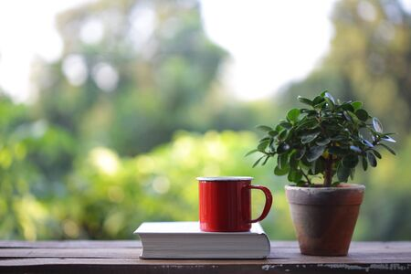 Red coffee mug with small plant in old brown pot with white thick book on wooden table at outdoor