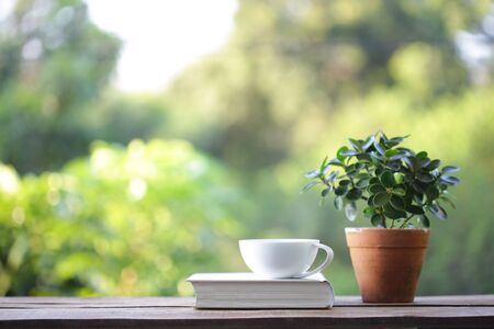 White coffee cup with small plant in old brown pot with white thick book on wooden table at outdoor