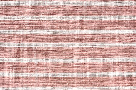 White stripe line on red cotton weave fabric texture