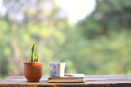 White cup with notebook and brown clay cactus pot on wooden table with nature view Stock fotó