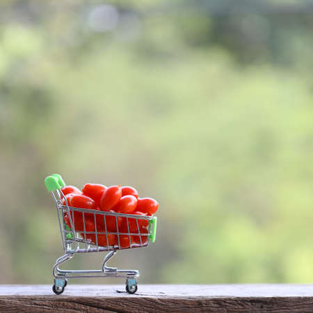 Small Tomatoes in mini shopping basket on wooden table Stockfoto