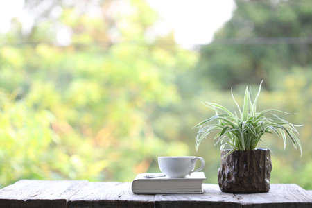 Notebook and white coffee cup with  plant in small wooden pot on wooden table at outside