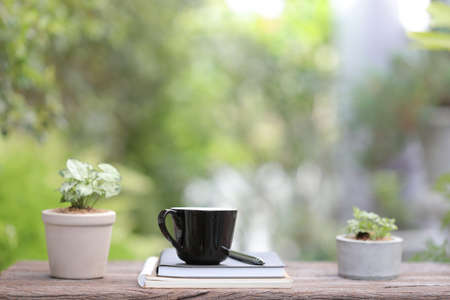 Black coffee cup with small plant pot  and notebook on wooden table relax scene