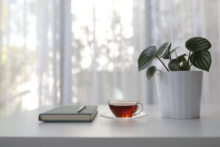 Red tea in transparent glass with plant and notebook and on white desk with see through curtain