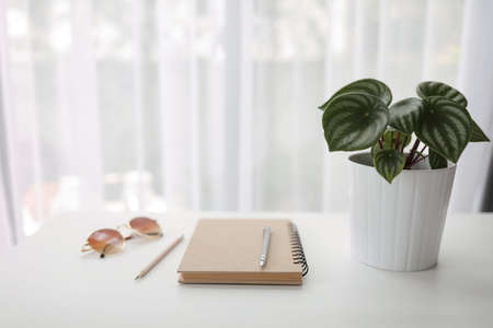 Notebook with plant and sunglasses with brown notebook on white wooden table interior house