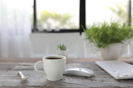 Coffee with mouse and keyboard and plant on rustic wooden table Banque d'images