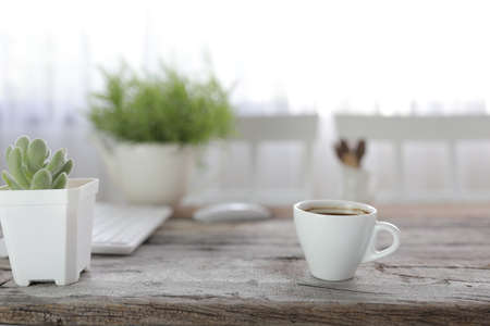 White coffee cup with small succulent plant on rustic wooden dinning table interior home Banque d'images