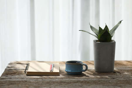 Clay blue coffee cup and brown notebook and pencil with snake plant on wooden table Banque d'images