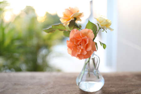 Orange and yellow roses in transparent vase on brown wooden table Banque d'images