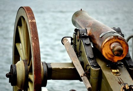A Civil War Cannon guarding the Harbor.