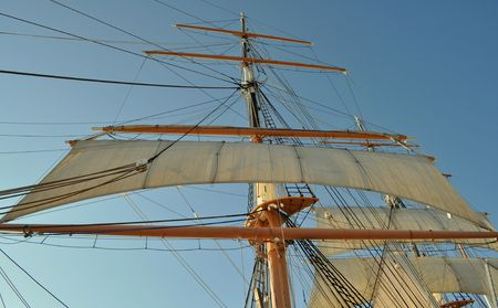 The Mast and Rigging of a Tall Sailing Ship Stock Photo - 7920898
